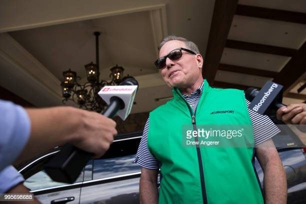 David Zaslav chief executive officer of Discovery Communications speaks to reporters as he arrives at the Sun Valley Resort for the annual Allen...