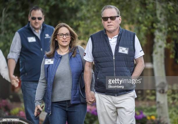 David Zaslav president and chief executive officer of Discovery Inc and Pam Zaslav arrive for a morning session at the Allen Co Media and Technology...