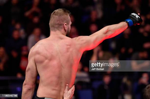 David Zawada of Germany celebrates after his submission victory over Abubakar Nurmagomedov of Russia in their welterweight bout during the UFC Fight...
