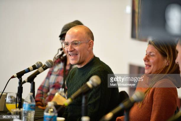 David Zellner and Devin DiGonno speak onstage during the 2018 Mammoth Lakes Film Festival on May 26 2018 in Mammoth Lakes California