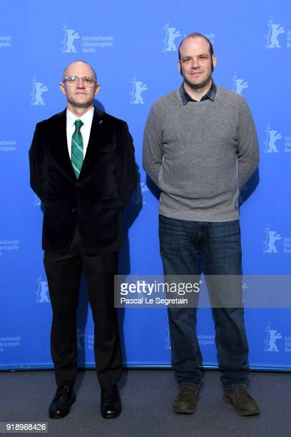 David Zellner and Nathan Zellner pose at the 'Damsel' photo call during the 68th Berlinale International Film Festival Berlin at Grand Hyatt Hotel on...