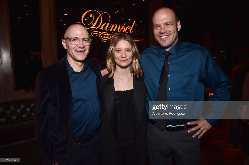 David Zellner, Mia Wasikowska and Nathan Zellner attend the after party for the premiere of Magnolia Pictures' 'Damsel' at ArcLight Hollywood on June 13, 2018 in Hollywood, California.