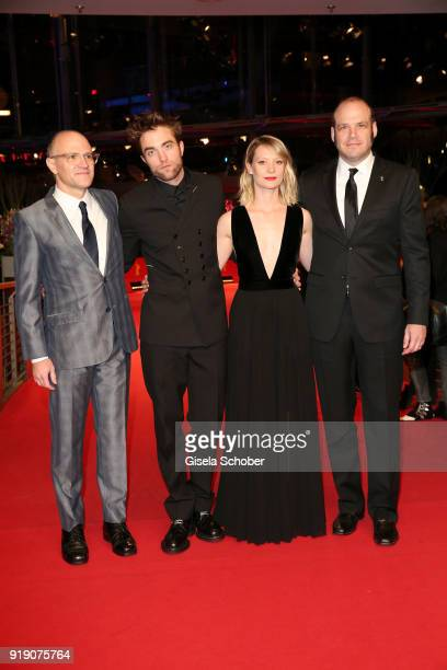 David ZellnerRobert Pattinson Mia Wasikowska and Nathan Zellner arrive at the 'Damsel' premiere during the 68th Berlinale International Film Festival...