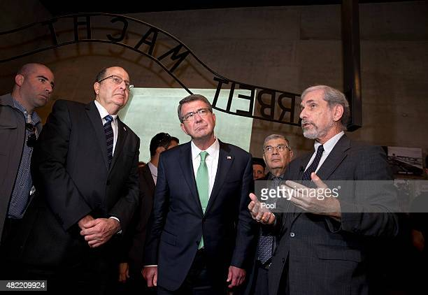 David Zilbershlag right guides US Defense Secretary Ash Carter third from right chairman of Yad Vashem Avner Shalev second from right and Israeli...