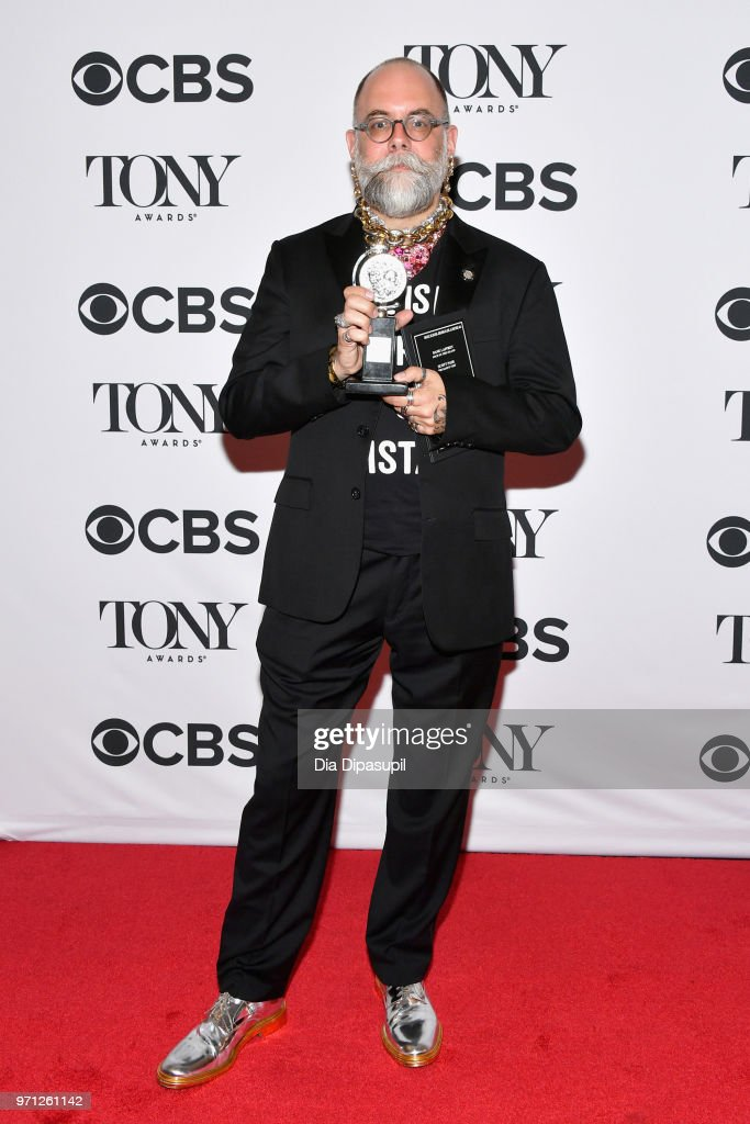 """David Zinn, winner of the award for Best Scenic Design of a Musical for """"Spongebob Squarepants: The Musical,"""" poses in the 72nd Annual Tony Awards Media Room at 3 West Club on June 10, 2018 in New York City."""