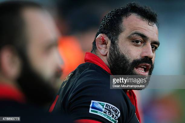 David Zirakashvili of Georgia looks on as his ear bleeds during the FIRAAER European Nations Cup Division 1A match between Georgia and Romania at the...