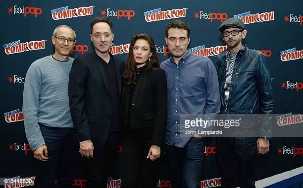 David Zucker Brennan Brown Alexa Davalos Rufus Sewell and DJ Qualls attend Amazon's production of The Man In The High Castle during the 2016 New York...