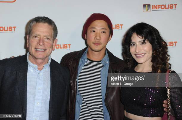 David Zucker Richard Jin and Adrieanne Perez attend INFOlistcom's PreOSCAR Soiree and Birthday Party for founder Jeff Gund held at SkyBar at the...