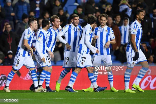 David Zurutuza of Real Sociedad celebrates after scoring his team's second goal with team mates during the La Liga match between Real Sociedad and RC...