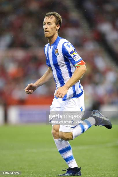 David Zurutuza of Real Sociedad during the Pre-Season Friendly between Nottingham Forest and Real Socidad at City Ground on July 26, 2019 in...
