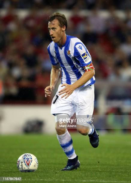 David Zurutuza of Real Sociedad during the Pre-Season Friendly between Nottingham Forest and Real Sociedad at City Ground on July 26, 2019 in...