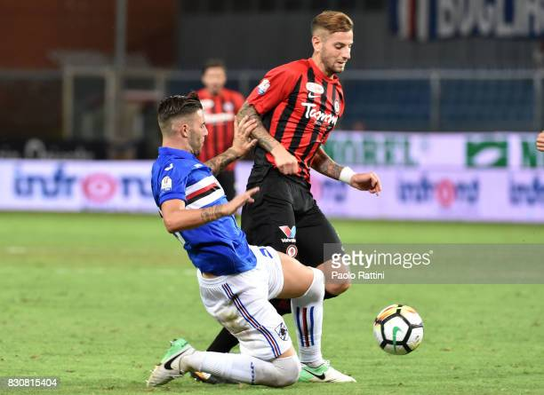 Davide Agazzi and Nicola Murru during the TIM Cup match between UC Sampdoria and Foggia at Stadio Luigi Ferraris on August 12 2017 in Genoa Italy