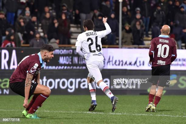 Davide Agazzi of Foggia celebrates after scoring his teams second goal during the Serie B match between US Salernitana and Foggia Calcio at Stadio...
