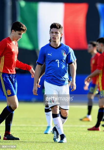 Davide Angelo Ghislandi of Italy looks on during the U17 International Friendly match between Italy and Spain at Juventus Center Vinovo on January 17...