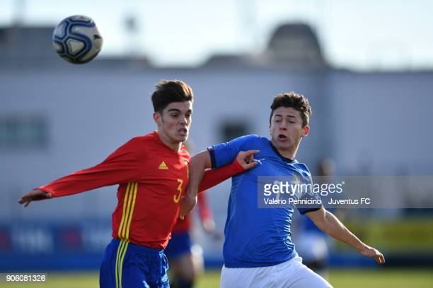 Davide Angelo Ghislandi of Italy U17 competes with Miguel Gutierrez of Spain U17 during the U17 International Friendly match between Italy and Spain...