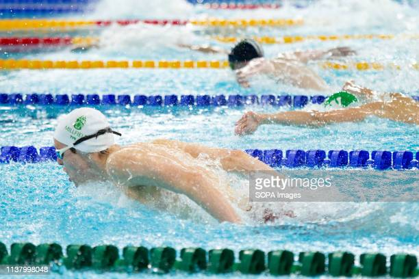 Davide Arioli and other swimmers in action during the men's junior 400 metres individual medley final during Day 3 of the 2019 British Swimming...