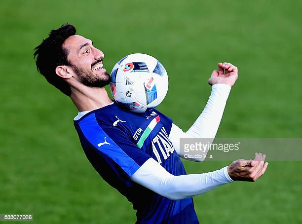 Davide Astori in action during the Italy training session at the club's training ground at Coverciano on May 20 2016 in Florence Italy
