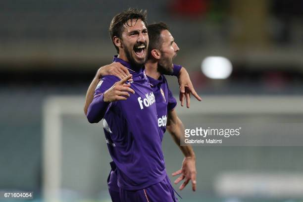 Davide Astori of ACF Fiorentina celebrates after scoring a goal during the Serie A match between ACF Fiorentina v FC Internazionale at Stadio Artemio...