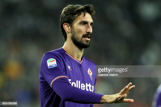 Davide Astori of ACF Fiorentina gestures during the Serie A match between Juventus and ACF Fiorentina on September 20 2017 in Turin Italy