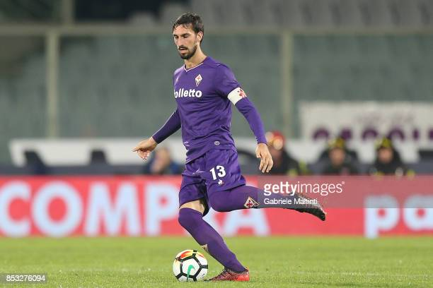 Davide Astori of ACF Fiorentina in action during the Serie A match between FC Crotone and Benevento Calcio at Stadio Artemio Franchi on September 24...