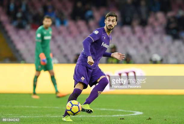Davide Astori of ACF Fiorentina in action during the Serie A match between SSC Napoli and ACF Fiorentina at Stadio San Paolo on December 10 2017 in...