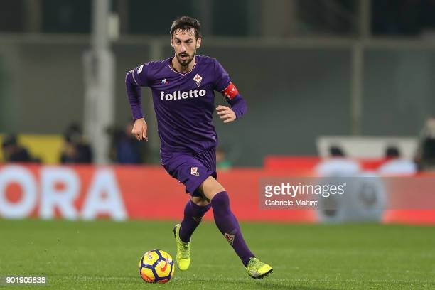 Davide Astori of ACF Fiorentina in action during the serie A match between ACF Fiorentina and FC Internazionale at Stadio Artemio Franchi on January...