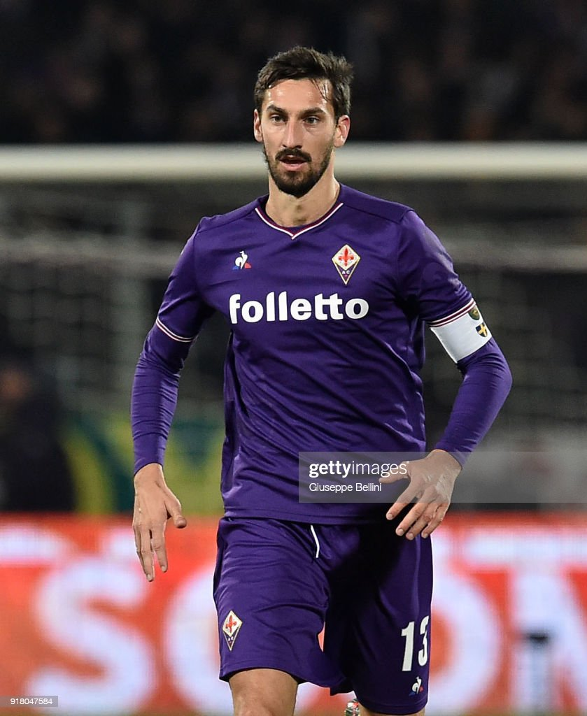 Davide Astori of ACF Fiorentina in action during the serie A match between ACF Fiorentina and Juventus at Stadio Artemio Franchi on February 9, 2018 in Florence, Italy.