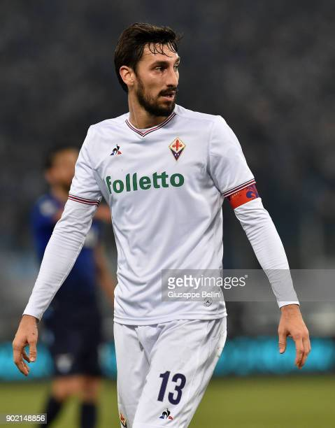 Davide Astori of ACF Fiorentina in action during the TIM Cup match between SS Lazio and ACF Fiorentina at Olimpico Stadium on December 26 2017 in...