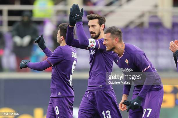 Davide Astori of ACF Fiorentina reacts during the serie A match between ACF Fiorentina and AC Chievo Verona at Stadio Artemio Franchi on February 25...