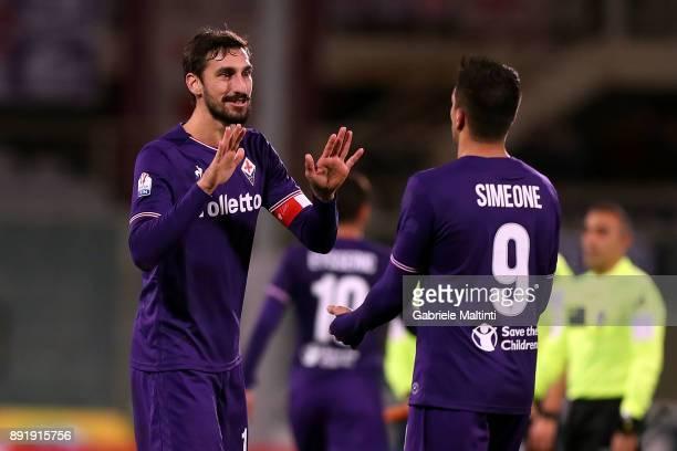 Davide Astori of ACF Fiorentina reacts during the Tim Cup match between ACF Fiorentina and UC Sampdoria at Stadio Artemio Franchi on December 13 2017...