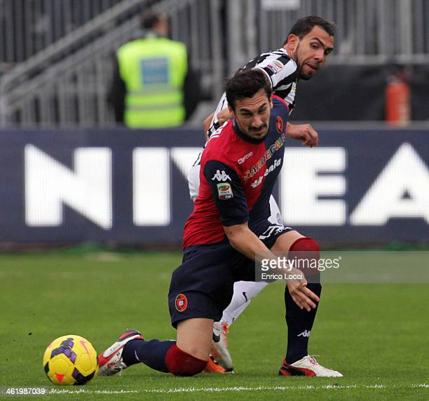 Davide Astori of Cagliari in action during the Serie A match between Cagliari Calcio and Juventus at Stadio Sant'Elia on January 12 2014 in Cagliari...