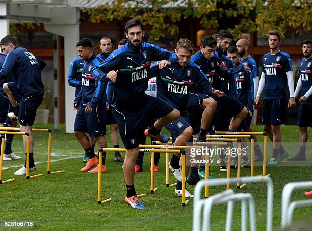 Davide Astori of Italy in action during the training session at the club's training ground at Milanello on November 14 2016 in Florence Italy
