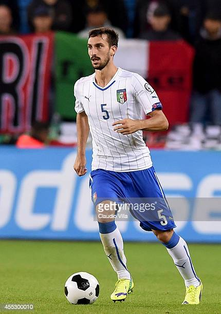 Davide Astori of Italy in action during the UEFA EURO 2016 qualifier match between Norway and Italy at Ullevaal Stadion on September 9 2014 in Oslo...