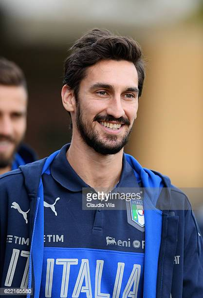 Davide Astori of Italy looks on during the training session at the club's training ground at Coverciano on November 10 2016 in Florence Italy