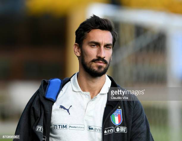 Davide Astori of Italy looks on prior to the training session at Italy club's training ground at Coverciano on November 6 2017 in Florence Italy