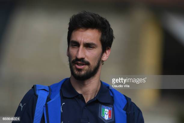Davide Astori of Italy looks on prior to the training session at the club's training ground at Coverciano on March 20 2017 in Florence Italy