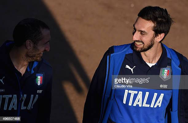 Davide Astori of Italy smiles prior to the training session at Coverciano on November 10 2015 in Florence Italy