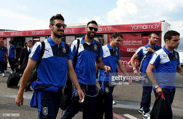 Davide Astori Salvatore Sirigu Mattia De Sciglio Lorenzo De Silvestri and Giacomo Bonaventura of Italy depart to Croatia on June 11 2015 in Florence...