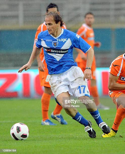 Davide Baiocco of Brescia in action during the Serie A match between Brescia Calcio and Udinese Calcio at Mario Rigamonti Stadium on October 17 2010...