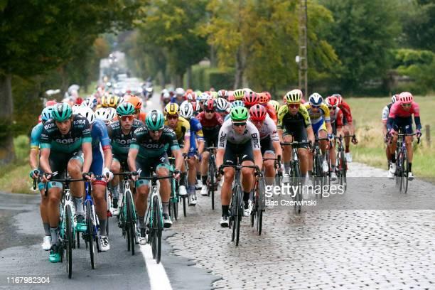 Davide Ballerini of Italy and Astana Pro Team / Oscar Gatto of Italy and Team BoraHansgrohe / Marcus Burghardt of Germany and Team BoraHansgrohe /...