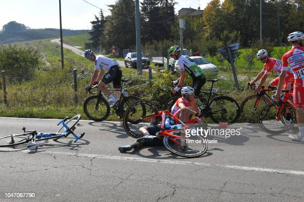 Davide Ballerini of Italy and Team Androni Giocattoli / Mikel Landa Meana of Spain and Movistar Team / Ian Stannard of Great Britain and Team Sky /...