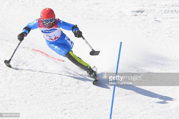 Davide Bendotti of Italy competes in the Alpine Skiing Men's Slalom Standing on day eight of the PyeongChang 2018 Paralympic Games on March 17 2018...