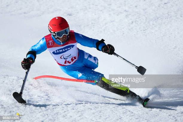 Davide Bendotti of Italy competes in the Men's Slalom Run 2 - Standing at Alpine Centre during day eight of the PyeongChang 2018 Paralympic Games on...