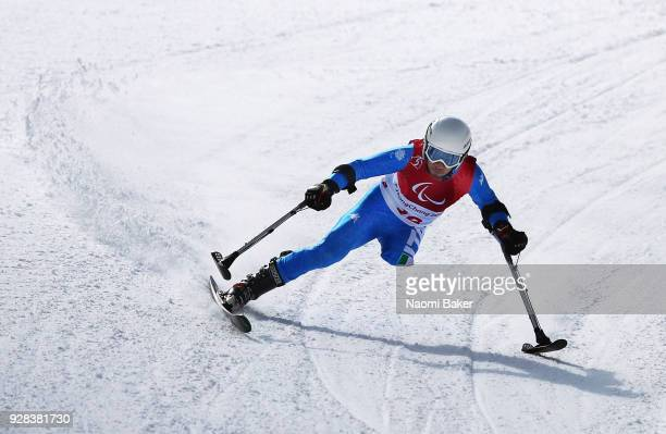 Davide Bendotti of Italy makes a run during Downhill training ahead of the PyeongChang 2018 Paralympic Games at Jeongseon Alpine Centre on March 7...