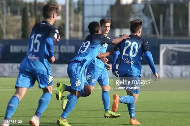 Davide Bertolini of Empoli FC U19 celebrates after scoring a goal during the Viareggio Cup 2019 match between Empoli FC U19 and UYSS New York U19 on...