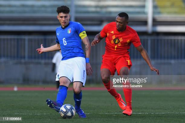 Davide Bettella of Italy U19 competes for the ball with Lois Openda of Belgium U19 during the UEFA Elite Round match between Italy U19 and Belgium...