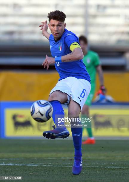 Davide Bettella of Italy U19 in action during the UEFA Elite Round match between Italy U19 and Belgium U19 at Stadio Euganeo on March 20 2019 in...