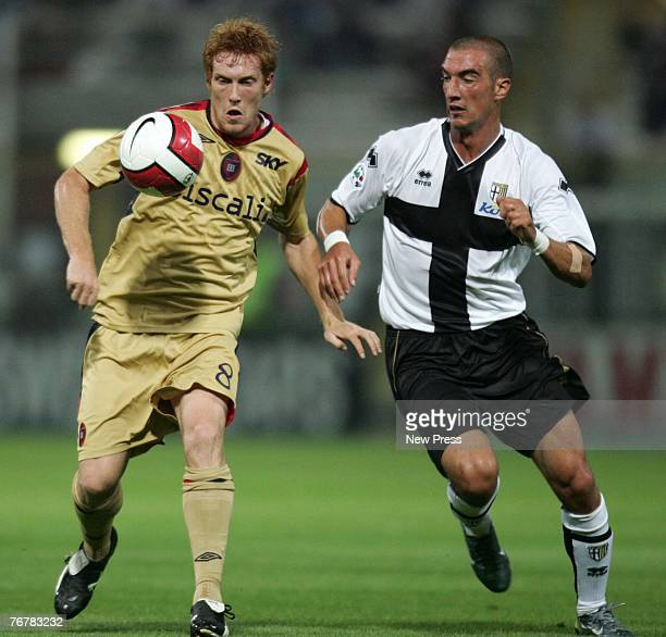 Davide Biondini of Cagliari and Paolo Castellini of Parma fight for the ball during a Serie A match between Parma and Cagliari at the Stadio Ennio...