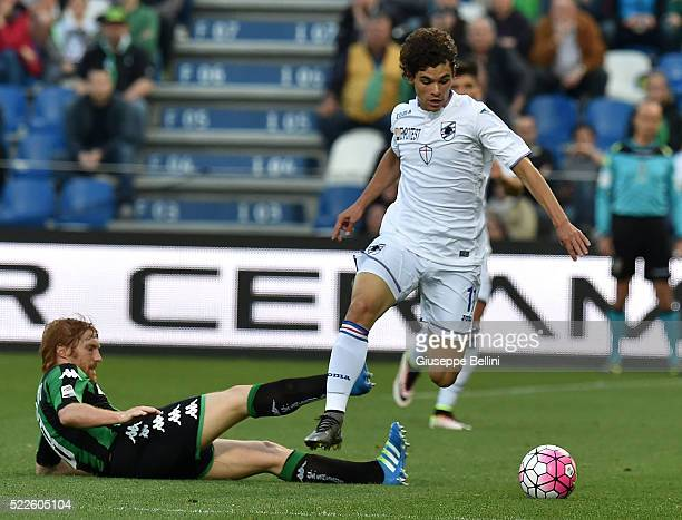 Davide Biondini of US Sassuolo and Dodo' of UC Sampdoria in action during the Serie A match between US Sassuolo Calcio and UC Sampdoria at Mapei...