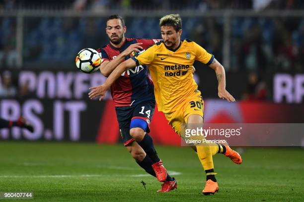 Davide Biraschi of Genoa CFC competes with Ryder Matos of Hellas Verona FC during the Serie A match between Genoa CFC and Hellas Verona FC at Stadio...